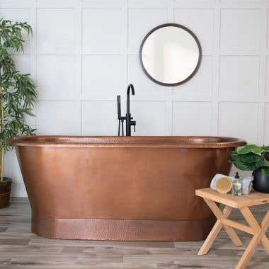 72 Inch Hammered Copper Double Ended Freestanding Tub