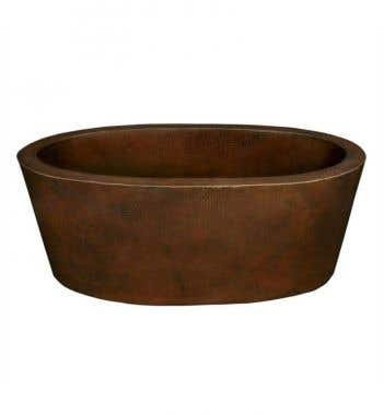 64 Inch Copper Double Ended Freestanding Tub