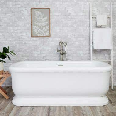 Sundance 67 Inch Acrylic Double Ended Freestanding Tub - No Faucet Drillings