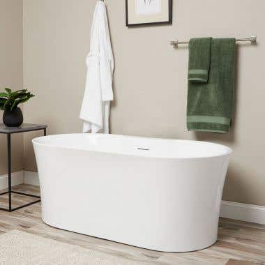Una 67 Inch Acrylic Double Ended Freestanding Tub - No Faucet Drillings