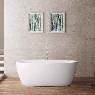 Luna 59 Inch Acrylic Double Ended Freestanding Tub - No Faucet Drillings