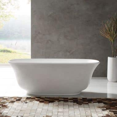 Augustus 66 Inch Acrylic Double Ended Freestanding Tub - No Faucet Drillings