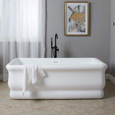 Brighton 67 Inch Matte Whte Acrylic Double Ended Freestanding Tub - No Faucet Drillings