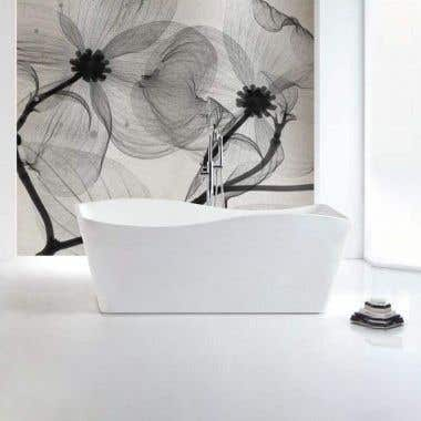 Rembrandt 59 Inch Matte White Acrylic Double Ended Freestanding Tub - No Faucet Drillings