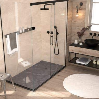 Stone Shower Base - Gray Marble