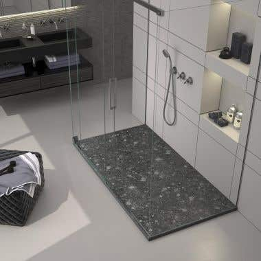 60 x 32 Stone Shower Base - Black Terrazo
