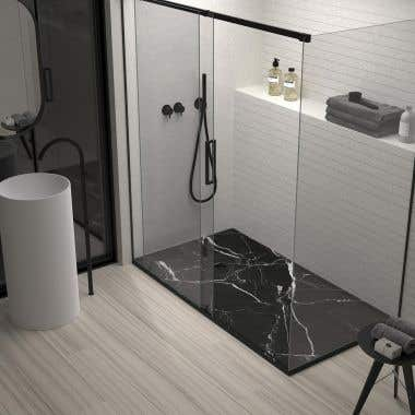 60 x 32 Stone Shower Base - Black Marble