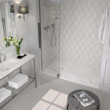 60 x 32 Stone Shower Base - White Marble