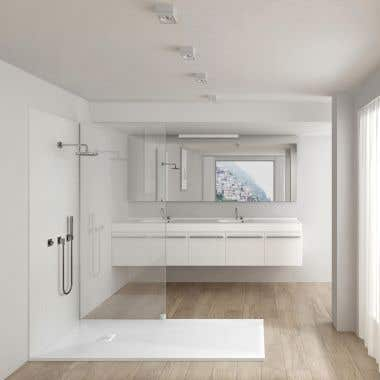 Lifestyle View - Resin Shower Base - White Slate