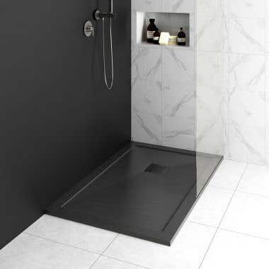 Lifestyle View - Resin Shower Base with Lip - Slate