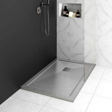 Lifestyle View - Resin Shower Base with Lip - Slate Gray