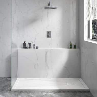 Lifestyle View - Resin Shower Base with Lip - White Slate