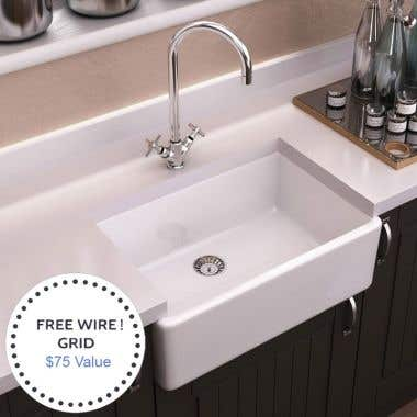 Randolph Morris 24 x 18 Fireclay Apron Farmhouse Sink with Grid