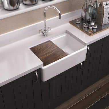 30 Inch Fireclay Kitchen Sink with Grid & Cutting Board