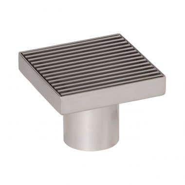Angle View - Stainless Steel - 4 Inch Square Shower Drain