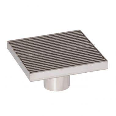 Angle View - Stainless Steel - 5 Inch Square Shower Drain