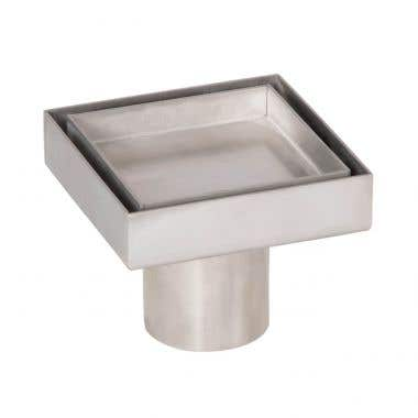 Angle View - Stainless Steel - 4 Inch Square Tile Insert Shower Drain