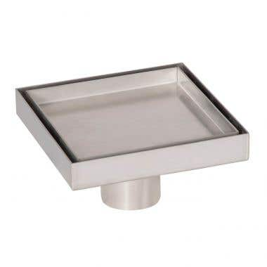 Angle View - Stainless Steel - 5 Inch Square Tile Insert Shower Drain