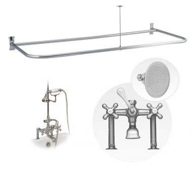 54 Inch Clawfoot Tub Rim Mount D-Ring Shower Enclosure with Faucet and Watering Can Shower Head