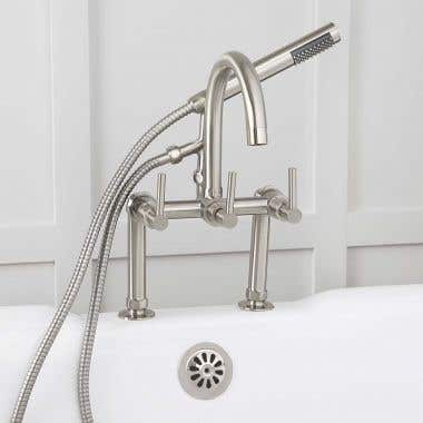 Mason Hill Collection Clawfoot Tub Deck Mount Contemporary Gooseneck Tub Faucet with Handshower