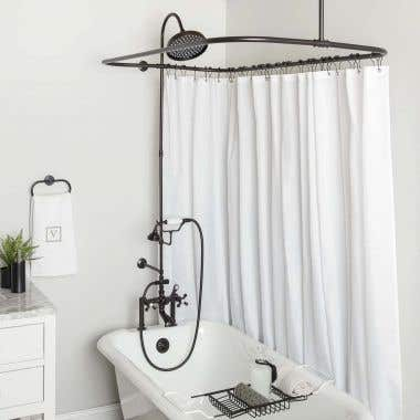 Mason Hill Clawfoot Tub Deck Mount Shower Enclosure with Faucet and Shower Head