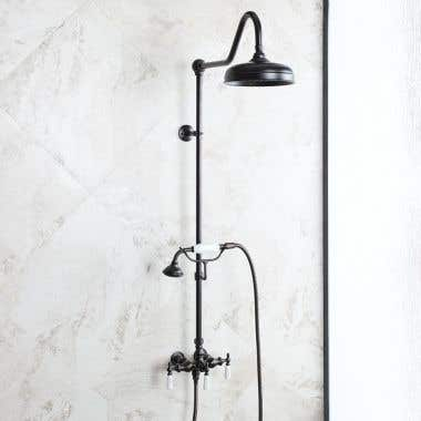 Mason Hill Collection Exposed Porcleain Handle Shower Set with Handshower