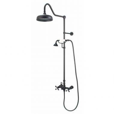 Matte Black - Mason Hill Collection Exposed Cross Handle Shower Set with Handshower