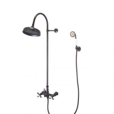 Mason Hill Collection Exposed Gooseneck Shower Set with Wall Mount Handshower
