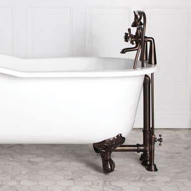 Mason Hill Collection Clawfoot Tub Rim Mount English Telephone Faucet with Handshower Complete Set