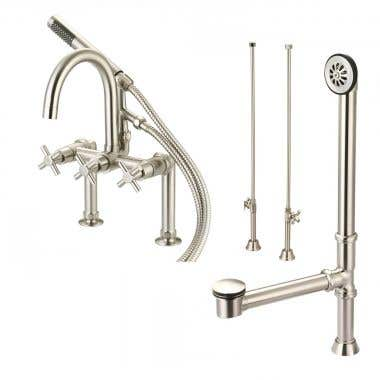 Matte Nickel - Mason Hill Collection Clawfoot Tub Deck Mount Contemporary Gooseneck Tub Faucet with Handshower Complete Set