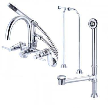 Mason Hill Collection Clawfoot Tub Wall Mount Contemporary Gooseneck Tub Faucet with Handshower Complete Set
