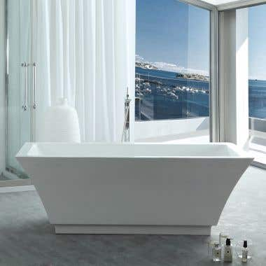 Asher 67 Inch Acrylic Double Ended Freestanding Tub - No Faucet Drillings