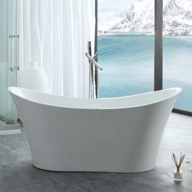 Layla 67 Inch Acrylic Double Slipper Freestanding Tub - No Faucet Drillings