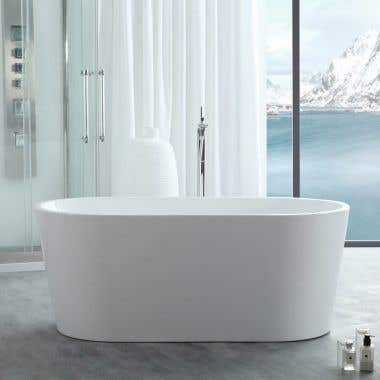 Chloe 63 Inch Acrylic Double Ended Freestanding Tub - No Faucet Drillings