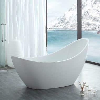 Crescent 73 Inch Acrylic Double Slipper Freestanding Tub - No Faucet Drillings