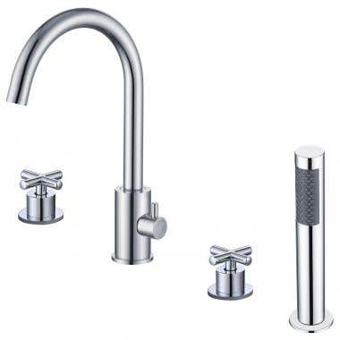 Chrome - Contemporary Deck Mount Tub Faucet with Handshower
