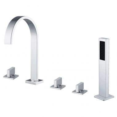 Contemporary Deck Mount Tub Faucet with Handshower