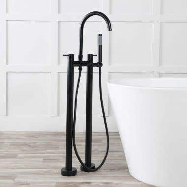Contemporary Double Post Freestanding Tub Faucet