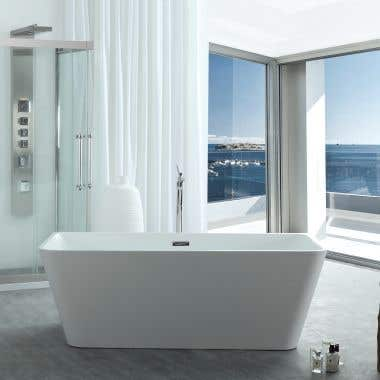 River Range 67 Inch Acrylic Double Ended Freestanding Tub - No Faucet Drillings