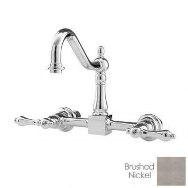 Randolph Morris Wall Mounted Bridge Kitchen Faucet with Metal Lever Handles