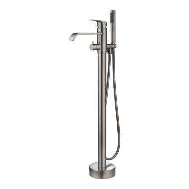 Brushed Nickel - Contemporary Freestanding Gooseneck Tub Faucet