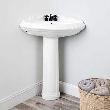 Alzata 26 Inch Corner Pedestal Sink