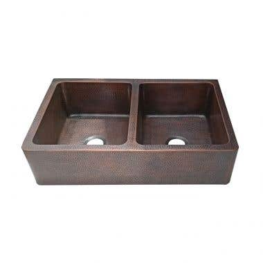 Front View - Reese 36 Inch Double Bowl Copper Farmhouse Apron Sink