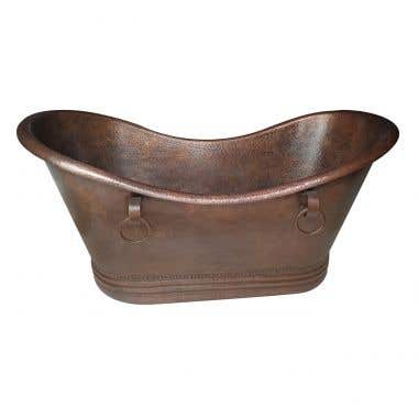Colliers Double Slipper Copper Tub with Rings