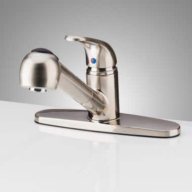 Brushed Nickel Randolph Morris Pull-Out Single Handle Kitchen Faucet