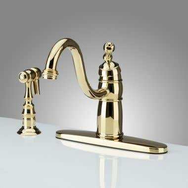 Polished Brass Randolph Morris Kitchen Sink Faucet with Side Spray