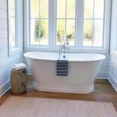 Randolph Morris 67 Inch Cast Iron Double Ended Skirted Tub - No Faucet Drillings