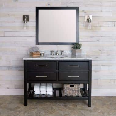 Everett 48 Inch Oak Console Vanity with Mirror