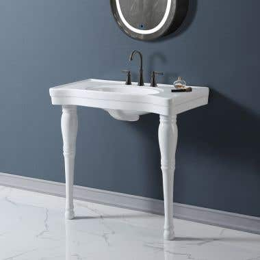 Charlotte 36 Inch Console Porcelain Sink - 8 Inch Faucet Drillings