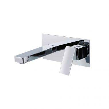 Chrome - Kally Collection Wall Mount Bathroom Sink Faucet - Lever Handle